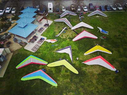 Drone shot of the Sylmar Flight Park by local pilot Jeff Odle #drone #birdseyeview #HangGlide #FlyWithUs #aviation