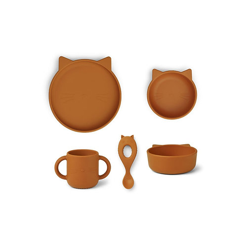VIVI SILICONE TABLEWARE 4 PACK - CAT MUSTARD