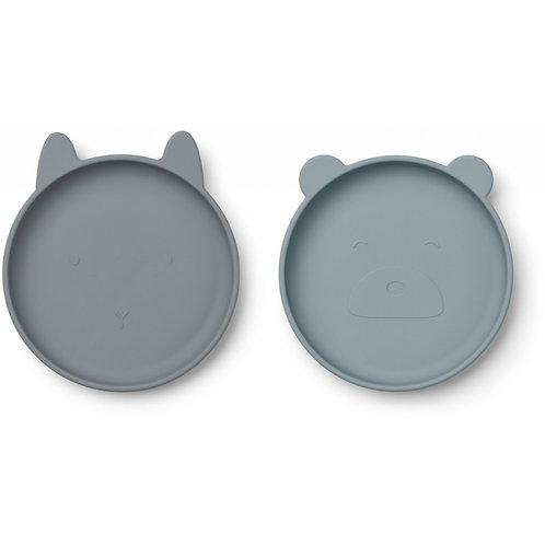 OLIVIA PLATE 2 PACK - BLUE MIX