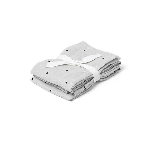 HANNAH MUSILIN CLOTH 2 PACK - CLASSIC DOT DUMBO GREY