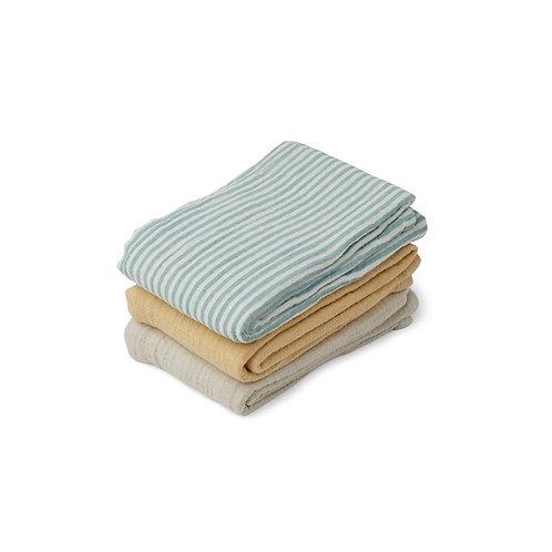 LINE MUSLIN CLOTH 3 PACK -SEA BLUE STRIPE MIX
