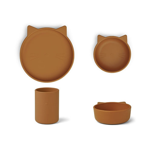 CYRUS SILICONE TABLEWARE 3 PACK -  CAT MUSTARD