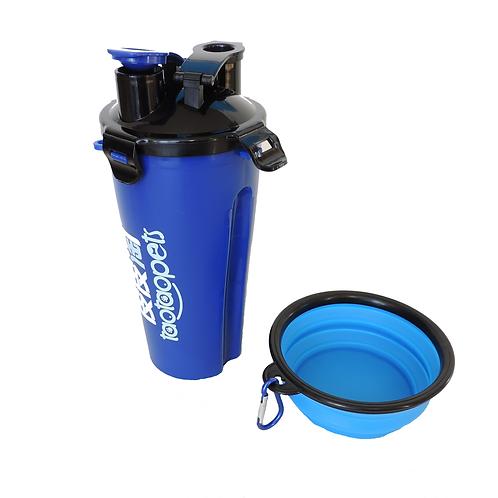 Trinkflasche inkl Futterbox + Reisenapf. 2 in 1 Set