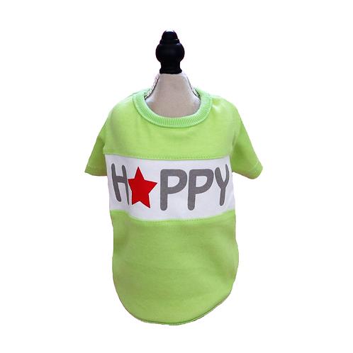 "T-Shirt ""Happy"" apfelgrün"