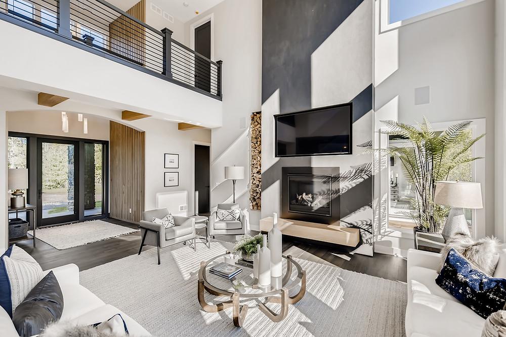 living room, floating bench, catwalk, horizontal black railing