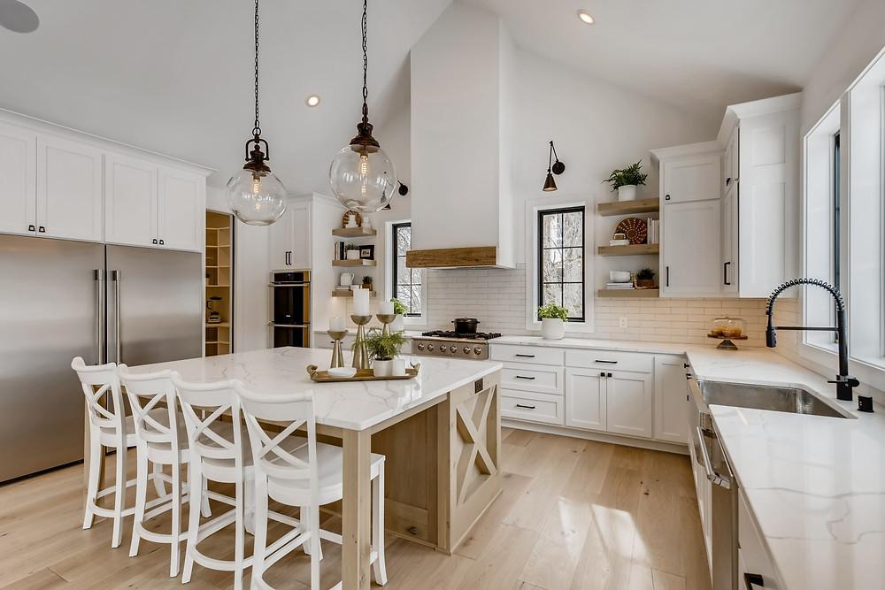 kitchen white oak island pendant lights