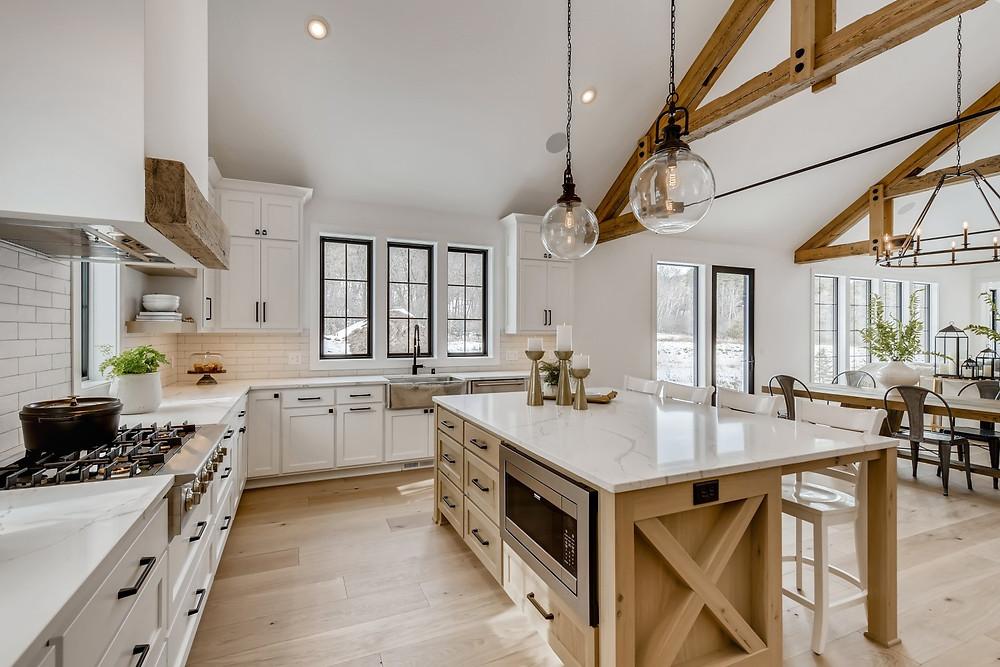 kitchen beams white oak island