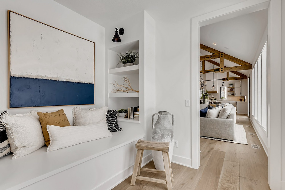 Built-in shelves and reading nook