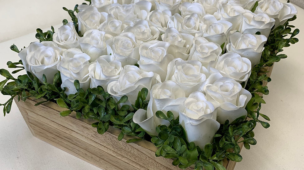 "White silk roses in a box of washed wood 11""square"