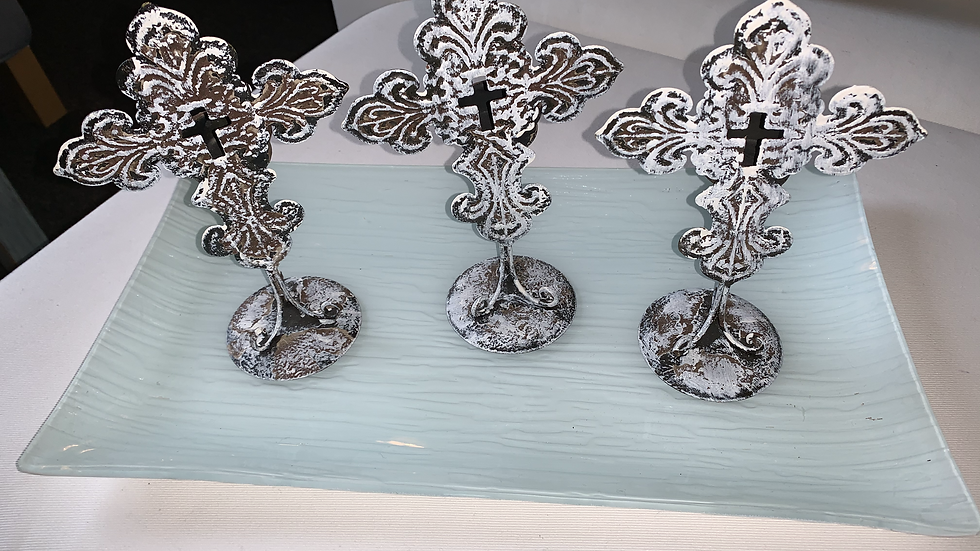 Distressed Tin Cross Tealight Candle Holders