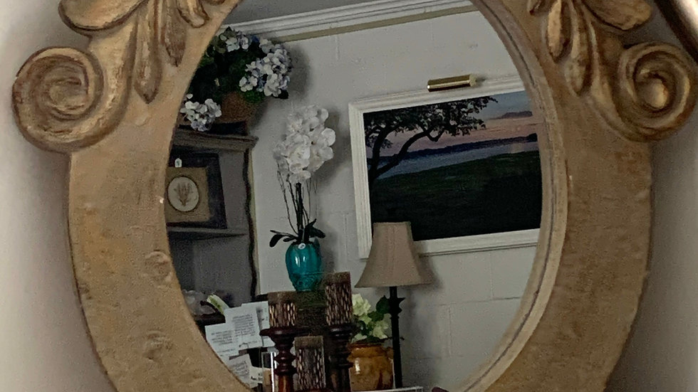Reproduction Mansard Mirror in soft gold color