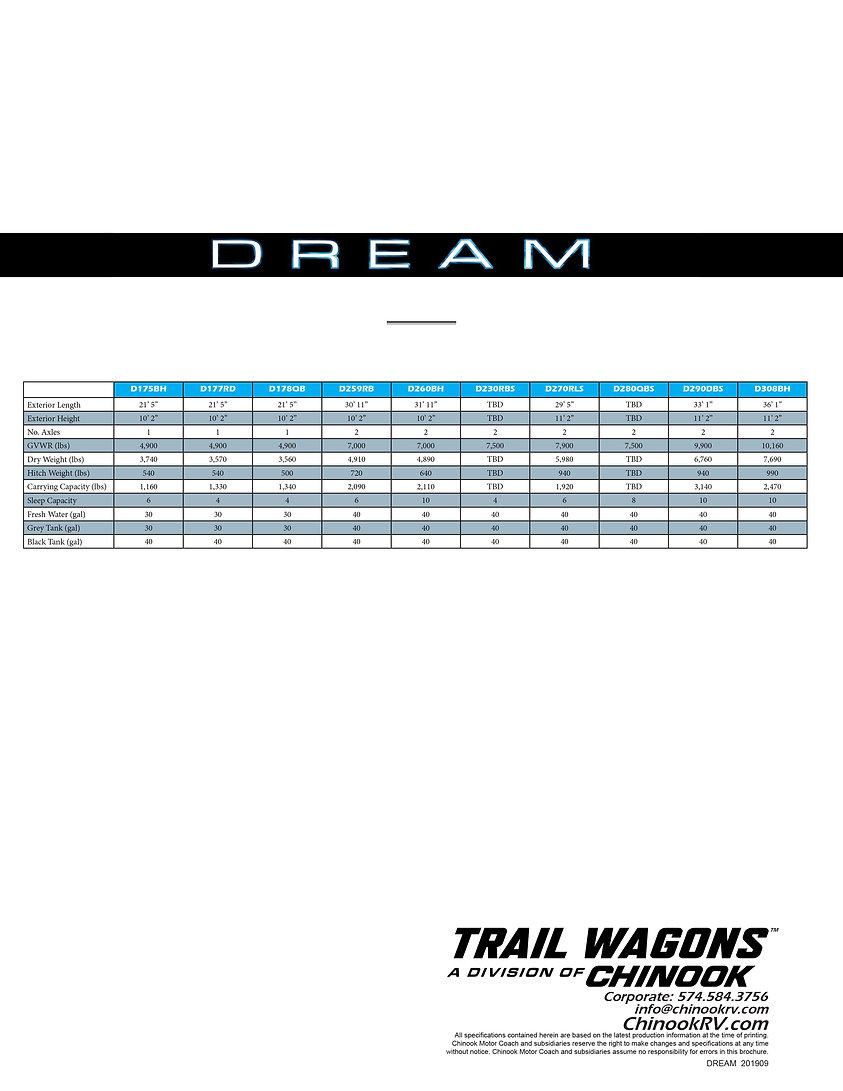 Chinook RV DREAM Brochure 9.16.19 update