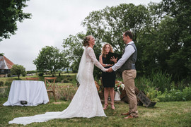 Celebrant Karlina leading an outdoor wedding ceremony