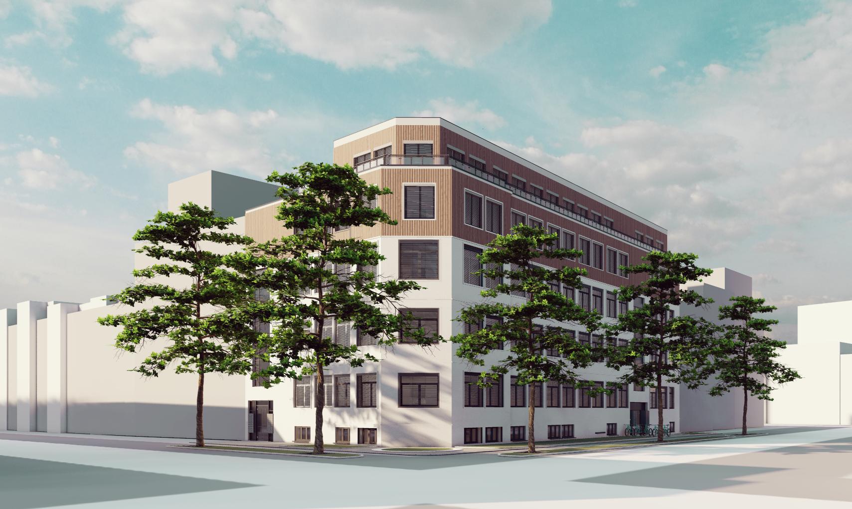 fca Architekten Visualisierung Studentenwohnheim Schlieperstraße Berlin Außenansicht