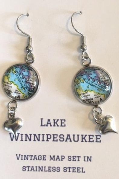 Lake Winnipesaukee Map Earrings