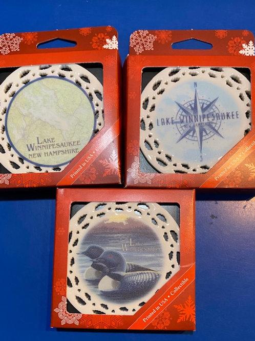 Lake Winnipesaukee Porcelin Boxed Ornaments