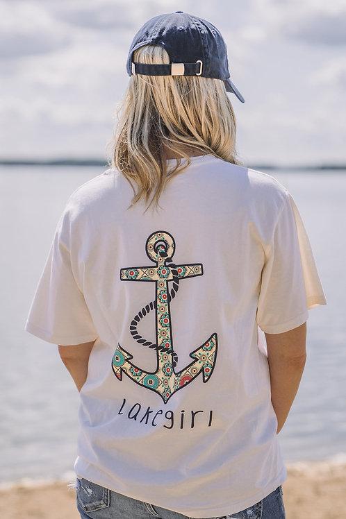 Lakegirl Ivory Anchor Tee