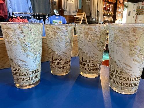Lake Winnipesaukee Map Glasses - Set of 4