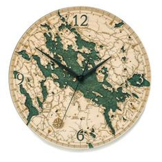 Lake Winnipesaukee/Winnisquam/Wentworth Laser Etched Clock