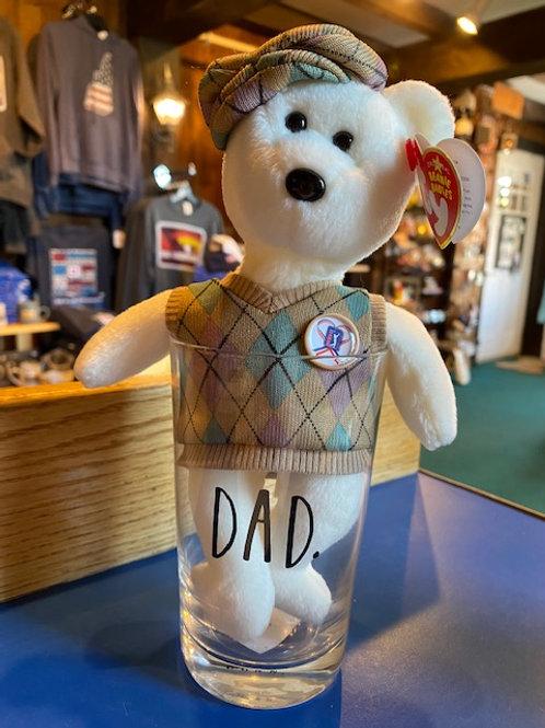 Dad Pint Glass with PGA Golfer Beanie Baby