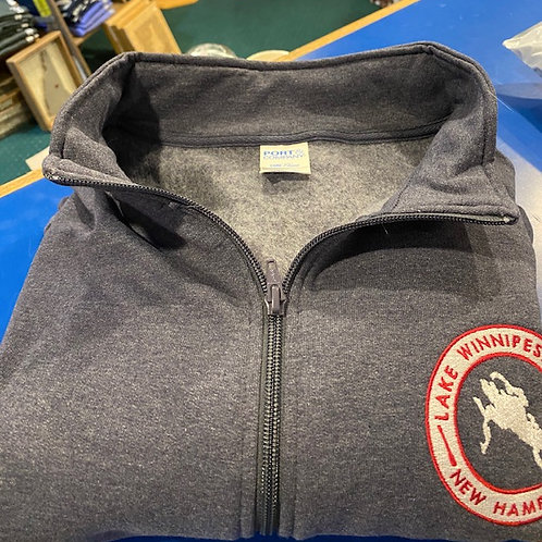 Full Zip Navy Track Sweatshirt with Embroidered LW Patch
