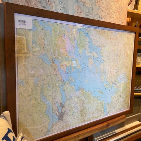 2ft x 3ft Framed 1987 Lake Winnipesaukee Map