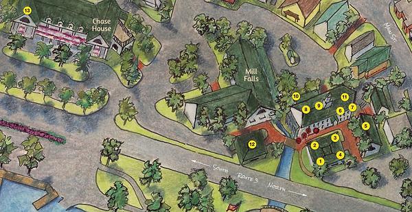 A map of Mill Falls Marketplace on Lake Winnipesaukee