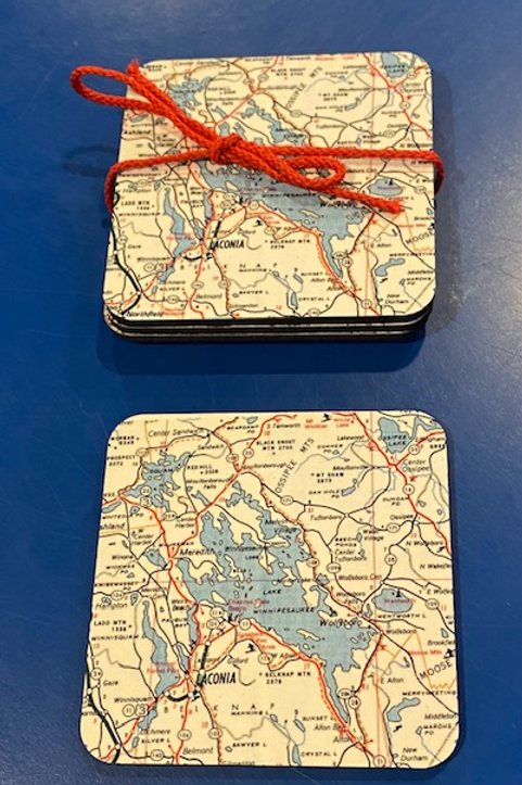 Lake Winnipesaukee Map Coasters - Set of 4