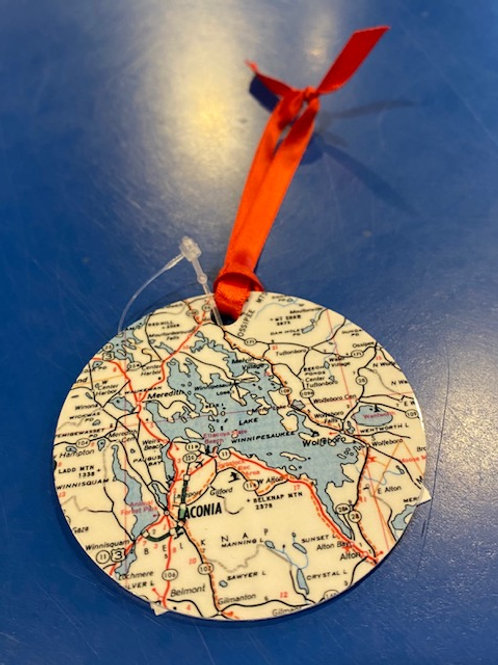 Lake Winnipesaukee Map Ornament