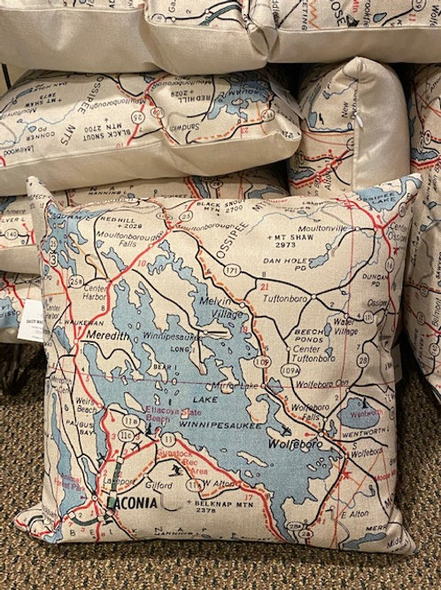 Lake Winnipesaukee Map Pillow