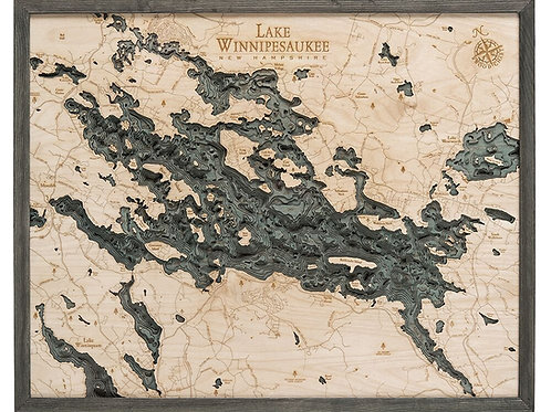 3D Lake Winnipesaukee Nautical Wood Chart