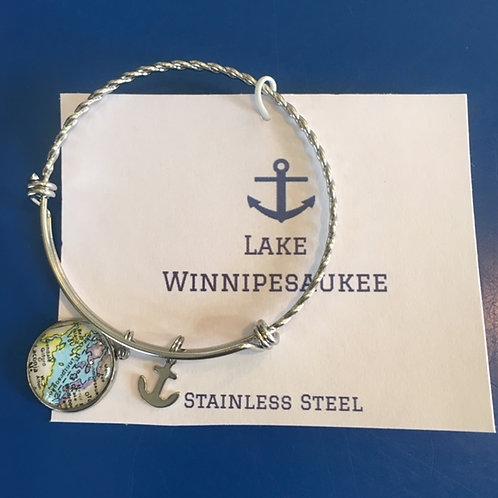 Lake Winnipesaukee Vintage Map Bangle Bracelet