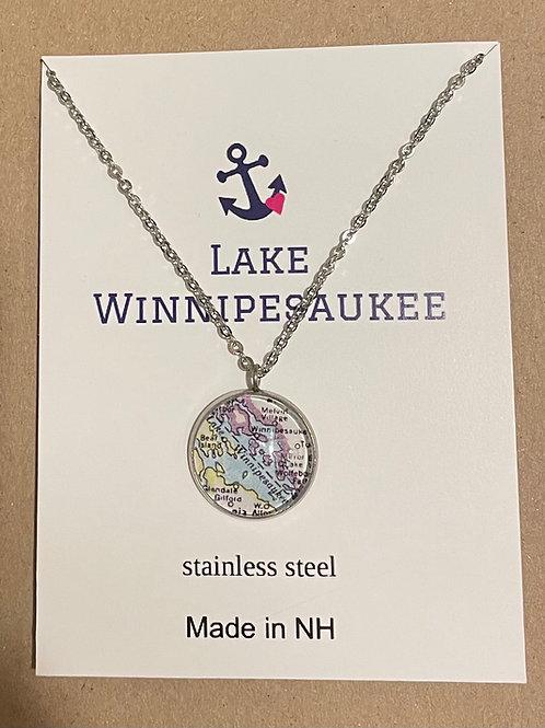 Lake Winnipesaukee Map Necklace