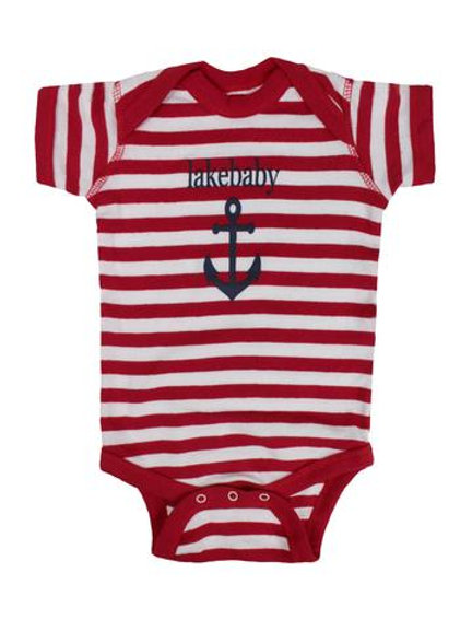 Lakegirl Lakebaby Red Strip Onesie