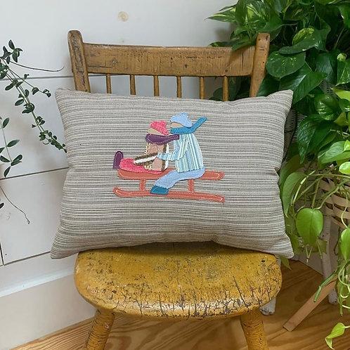 2 Sledders Pillow by Nattie