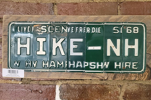 Hike NH Antique License Plate Sign