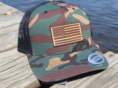American Flag Snapback (camo)