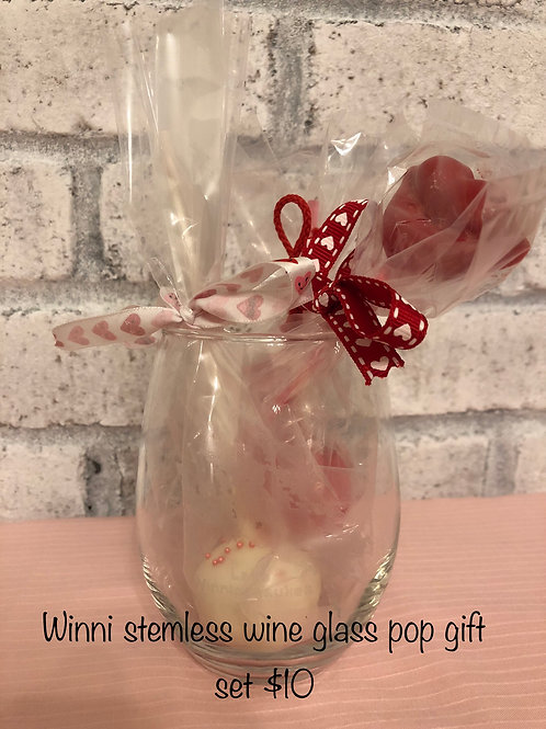 Winni Stemless Wine Glass with Cake Pop