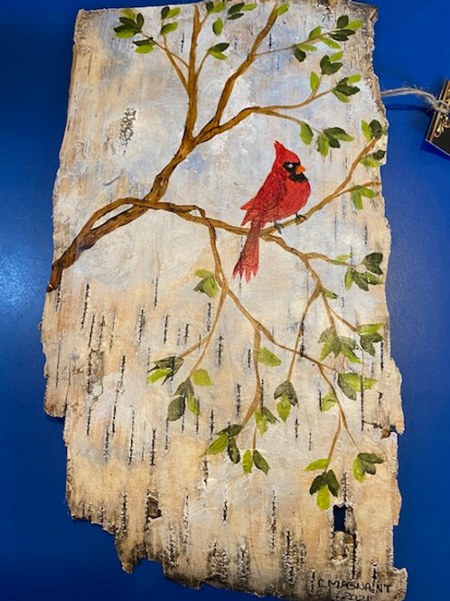Handpainted Cardinal on Birch