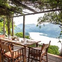 Ndali Lodge veranda overlooking Lake Nyinambuga