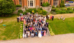 aerial photo of wedding guests