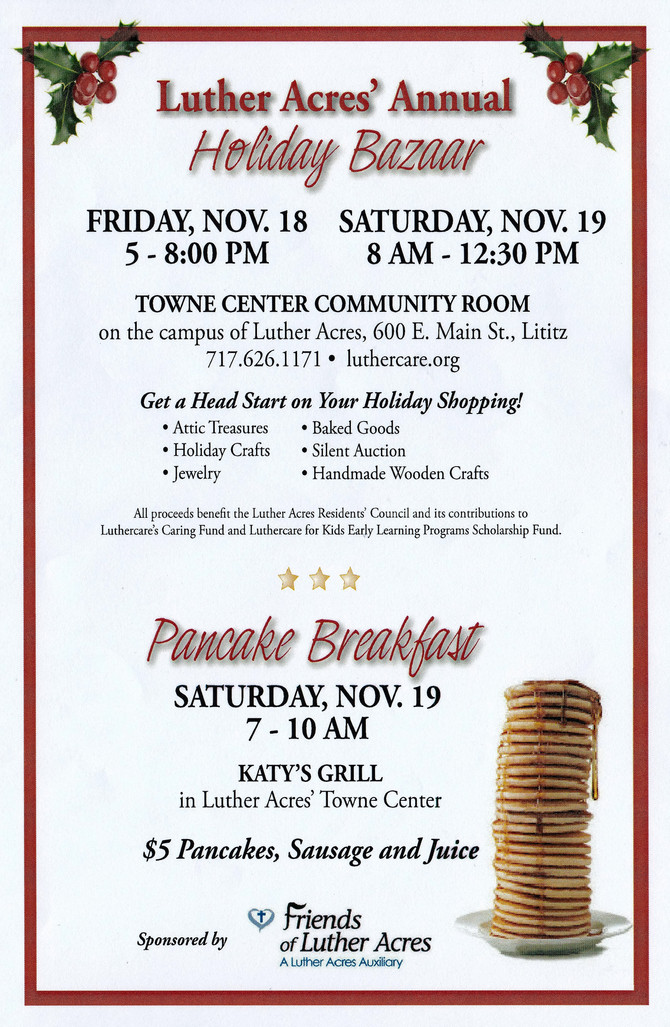 Luther Acres Annual Holiday Bazaar and Pancake Bazaar