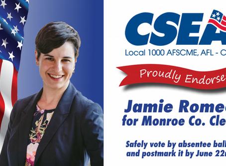 CSEA Endorses Jamie Romeo for Monroe County Clerk