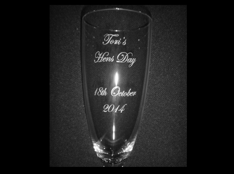 Champagne glass engraved
