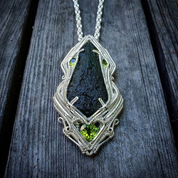 11g Moldavite with Peridot facets, wrapp