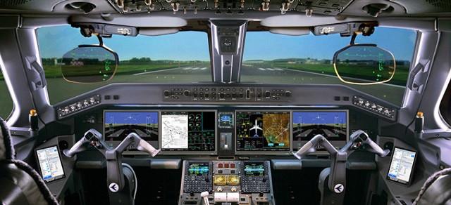 painel de controle avião