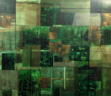 Untitled, 2014, Gold leaf and collage on canvas 120 x 140 cm