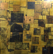 Untitled, 2014, Gold leaf and collage on canvas 110 x 110 cm