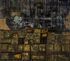 Untitled, 2016, Acrylic gold leaf and collage on canvas 140 x 160 cm