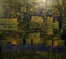 Untitled, 2014, Gold leaf and collage on canvas 160 x 180 cm
